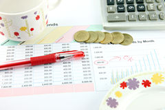 The Red Pen,cup,Calculator and money Coins on Business graph. Stock Photo
