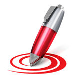 Red pen drawing circular shape. Creativity, web blogging, social network and internet communication business abstract concept: red metal ballpoint pen drawing Royalty Free Stock Photo