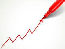 Red pen drawing growing arrow over document Royalty Free Stock Image