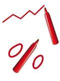 Red pen with graph and percent. Sign, isolated on white background Royalty Free Stock Photos