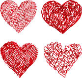 Red pen hand drawn hearts set Stock Image