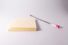 Red Pen Ink Writing Sticky Note Notepad Reminder Scribble White Stock Photography
