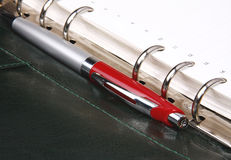 Red pen lying on a green leather organizer Stock Photography