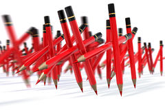 Red Pen March. March of red pencils, 3d rendering royalty free illustration