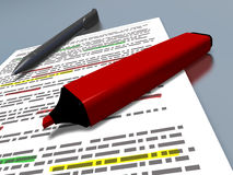 Red pen marker and blue pen on an highlighted document Stock Photo