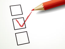 Red pen marking on the check box. Close up look at red pen marking on the check box Royalty Free Stock Photo