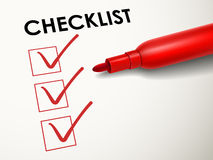 Red pen marking on the check box. Close up look at red pen marking on the check box Royalty Free Stock Photos