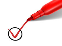 Red pen marking on the check box. Close up look at red pen marking on the check box over white paper Stock Photo