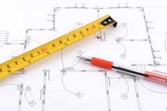 Red pen and measuring tape Stock Image