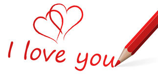 Red pen with text I love you Royalty Free Stock Photos