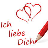 red pen with text I love you Royalty Free Stock Photography