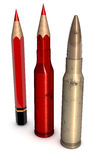 Red Pen to Bullet Stock Photo