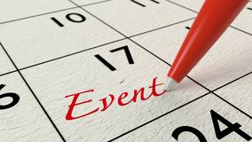 Red pen writing the word event into a calendar. Time management concept 3D illustration Stock Images