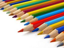 Red pencil. Shallow DOF red pencil with color ones set diagonal fragment Royalty Free Stock Photos