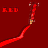 Red pencil. The illustration could be used in the field of teaching, for example employed in order to learn colors to a child, or as simple illustrations for Stock Illustration