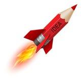 Red pencil as flying rocket. Creative design concept with red pencil as flying rocket on white background stock illustration
