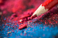 Red pencil. On a bright colorful background Royalty Free Stock Image