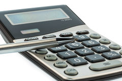 Red pencil and calculator Royalty Free Stock Photo
