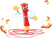 Red pencil cartoon Stock Photos