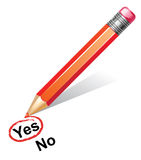 Red pencil choosing yes Royalty Free Stock Photo