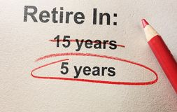 Early retirement concept. Red pencil circle around 5 years retirement text -- early retirement concept Stock Photography