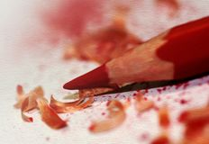 Red pencil close up. Red pencil close-up. Illustration done in the style of drawing oil paints Royalty Free Stock Photography