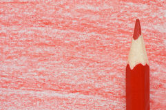 Red pencil with coloring on a  paper Stock Photography