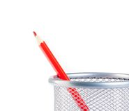 Red pencil in container isolated Stock Image