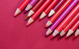 Red - pencil crayons & paper Stock Image