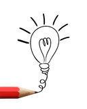 Red Pencil Drawing Light Bulb. Royalty Free Stock Photography