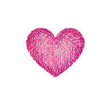 Red pencil drawing love heart isolated over white background Stock Photography