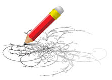 Red pencil drawing a sketch Stock Photos