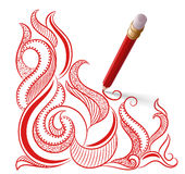 Red pencil with eraser draws a pattern Royalty Free Stock Photos