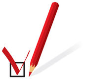 Red pencil with form for voting Royalty Free Stock Images