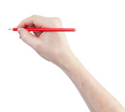 Red pencil in hand isolated on white Stock Photography