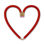 Red Pencil Heart. Two red pencils forming the outline of a heart on white background. Includes clipping path Royalty Free Stock Photography