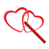 Red pencil and heart Stock Photography