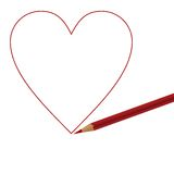 Red pencil and heart Royalty Free Stock Photography