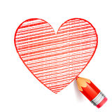 Red Pencil and Heart Drawing. On white background Stock Images