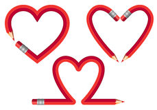 Red pencil hearts, vector set Stock Images