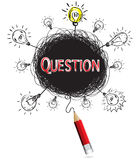 Red pencil idea concept red question education and business crea Royalty Free Stock Photos