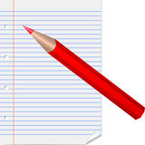 Red pencil on lined page Stock Photography