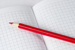 Red pencil. Macro shot over checked paper Stock Photos