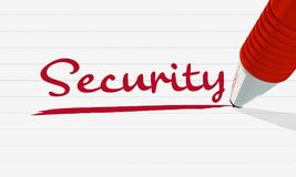 A red pencil marks the word `security` on a lined sheet of paper. 3d renderd Illustraition. Red words on white background Royalty Free Stock Photography