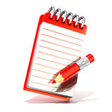 Red pencil and notepad. 3D render isolated on white background Stock Photos