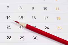 Free Red Pencil Over Calendar Royalty Free Stock Photo - 49702515