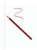 Red pencil and paper Royalty Free Stock Photography
