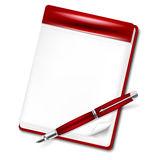 Red pencil and paper notebook Stock Image