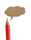 Red pencil saying with talk icon. Royalty Free Stock Photos