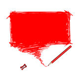 Red pencil scribble with word bubble Royalty Free Stock Photo
